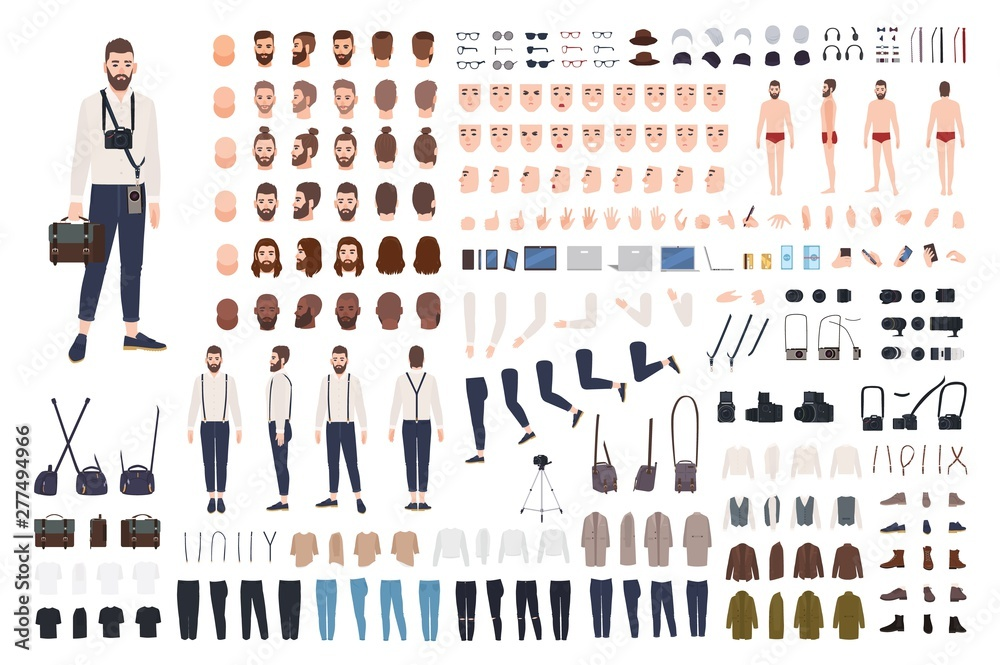 Fototapety, obrazy: Photographer or photo journalist constructor kit or DIY set. Collection of body parts, clothes, professional equipment. Male cartoon character. Front, side, back views. Flat vector illustration.