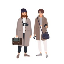 Portrait Of Male Photographer And His Female Assistant In Coats Isolated On White Background. Pair Of Professional Photo Journalists With Cameras Standing Together. Flat Cartoon Vector Illustration.