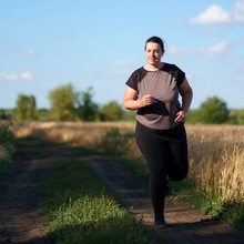 Weight Loss, Outdoor Activity, Exercising, Healthy Lifestyle, Jogging. Overweight Woman Running In Countryside