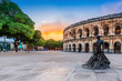 canvas print picture - Nimes, France. View of the ancient Roman amphitheatre.