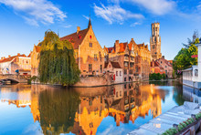 Bruges, Belgium. The Rozenhoedkaai Canal In Bruges With The Belfry