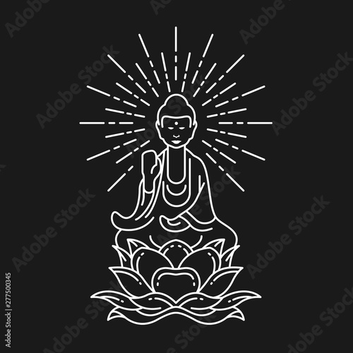 Poster Abstract white border line Buddha Meditation on lotus flower sign on black background vector design