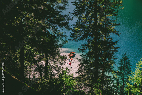 Photo Stands Lavender scenic view of famous braies lake in italy