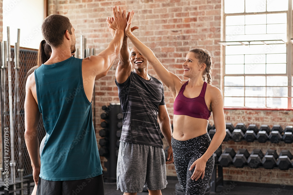 Fototapety, obrazy: Happy team giving high five in gym