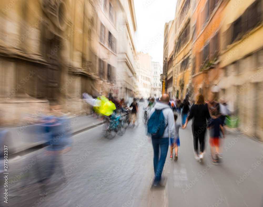 Fototapety, obrazy: Busy city people going along the street. Intentional motion blur