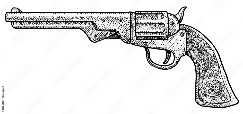 Fototapeta Cowboy pistol illustration, drawing, engraving, ink, line art, vector