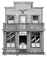 Old American Western Building Illustration, Drawing, Engraving, Ink, Line Art, Vector