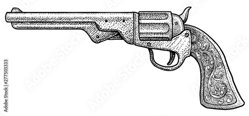 Fényképezés  Cowboy pistol illustration, drawing, engraving, ink, line art, vector