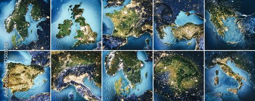 Fotografie, Obraz  Planet Earth topography map set