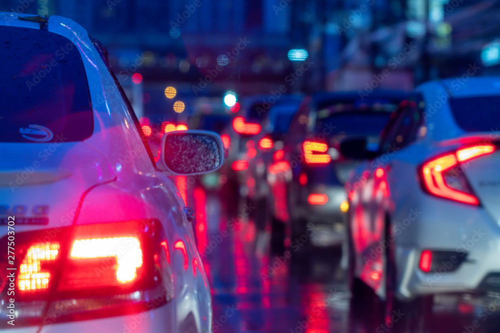 Fototapety, obrazy: Colorful blurred abstract background from traffic jam on the road.