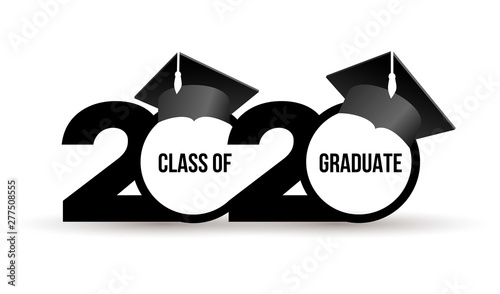 Graduation Hat 2020.Class Of 2020 With Graduation Cap Text Flat Design Pattern