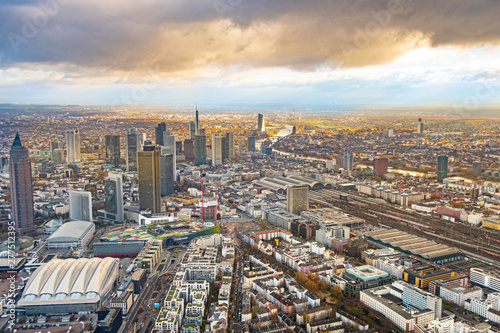 Keuken foto achterwand Las Vegas aerial of frankfurt with dark clouds and sunshine