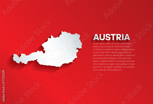 Austria Map with shadow Wallpaper Mural