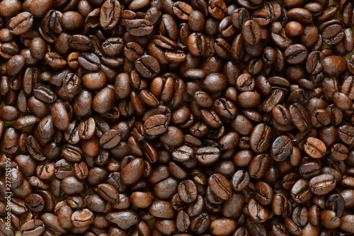 Poster Individuel Full frame of aromatic roasted coffee beans background