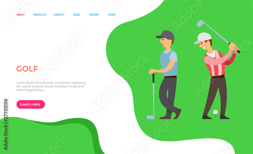 Fotografie, Obraz  Golfing hobby of people vector, players with sticks and balls on ground, participants playing English game for rich