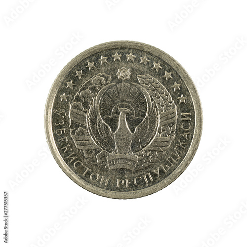 Fotografia  10 Uzbek tiyin coin (1994) reverse isolated on white background