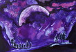 canvas print picture - Painted violet universe watercolor