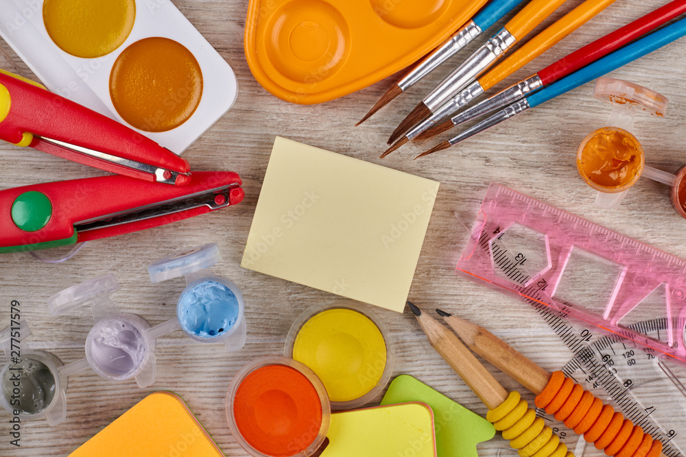 Fototapety, obrazy: School supplies on wooden background. Art concept with painters palette and paint brush.