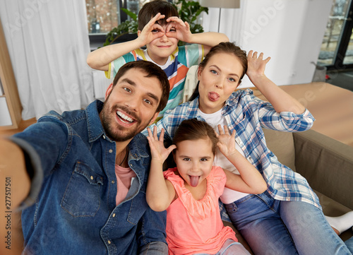 фотография family, fun and people concept - happy father, mother, little son and daughter t