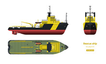 Rescue Ship On White Background. Top, Side And Front View. Industry Blueprint In Realistic Style. Isolated Drawing Of Boat
