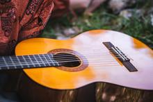 Acoustic Guitar Close Up Image