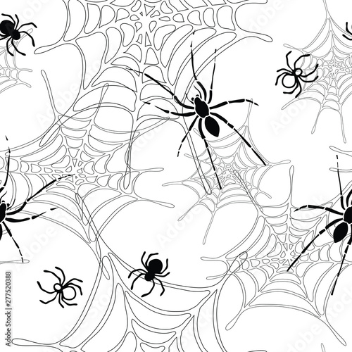 Spiders and spider web seamless pattern Wallpaper Mural