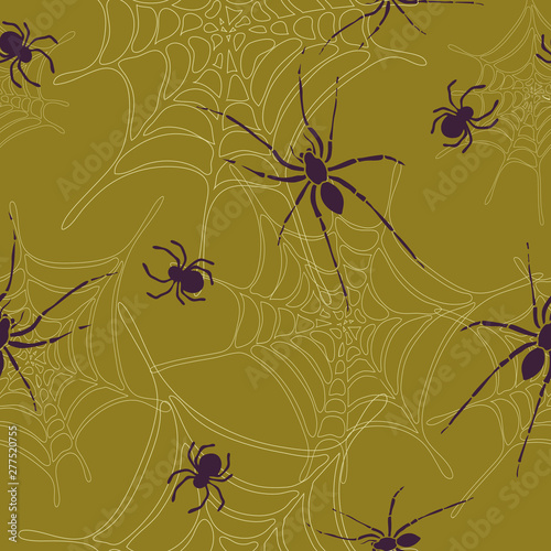 Spiders and spider web seamless pattern on brown background Canvas Print