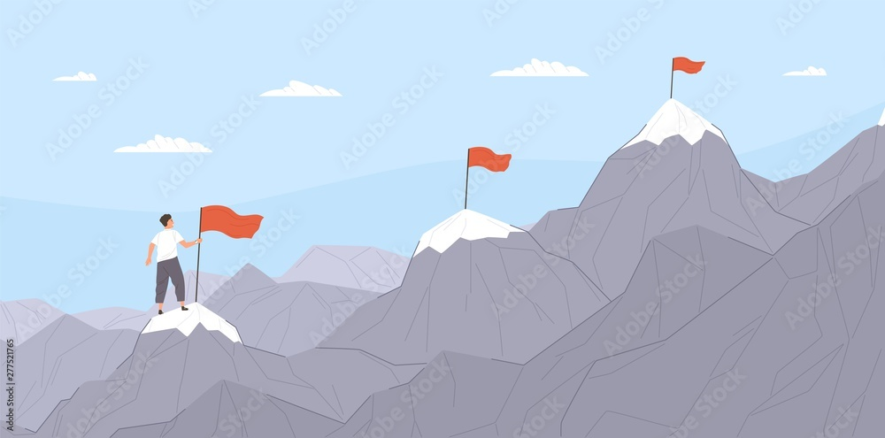 Fototapety, obrazy: Office worker climbing up mountains or cliffs and moving to final destination point. Concept of gradual business development, successive steps to goal achievement. Flat cartoon vector illustration.