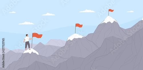 Office worker climbing up mountains or cliffs and moving to final destination point Canvas Print