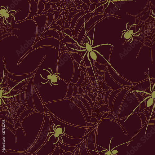 Spiders and spider web seamless pattern on dark red background Canvas Print