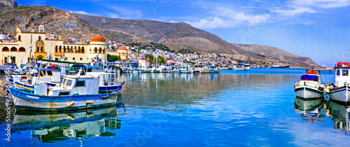 Real traditional Greece - Kalymnos island in Dodekanese. harbor view with fishing boats