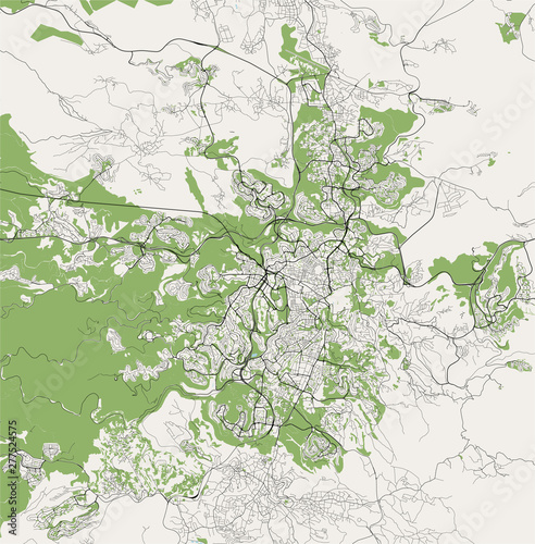 vector map of the city of Jerusalem, Israel, Asia – kaufen ...