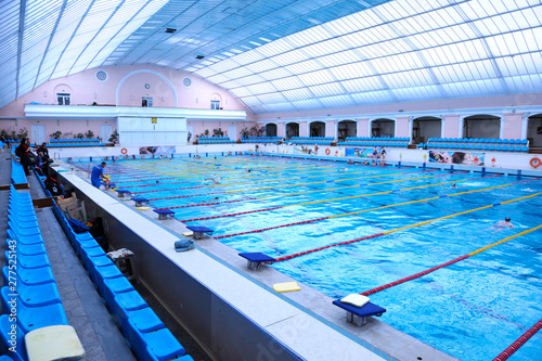 Fototapeta Interior of indoor swimming pool, paths  obraz