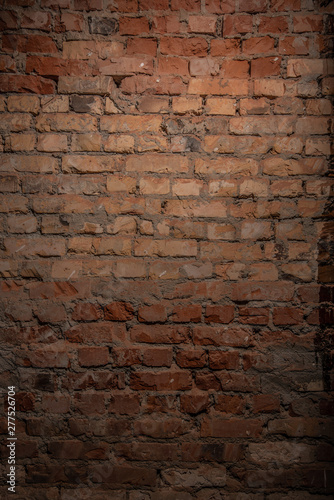 Fotomural  brick wall of red color wide panorama of masonry