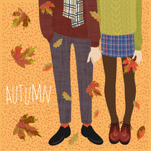 Hello, Autumn. Vector Flat Illustration Of A Couple Of Teenagers And Falling Autumn Leaves. Legs In Boots For Banners, Cards And Other