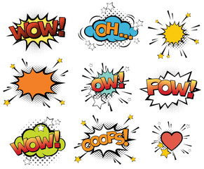 Set of vector pop art signs and comic cartoon bubbles and elements with halftone shadows