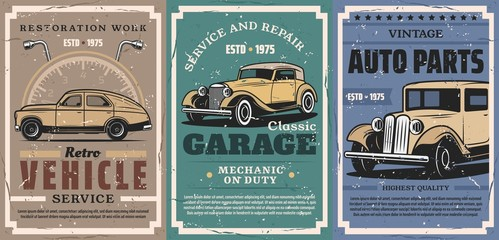 Retro car and auto, vintage...