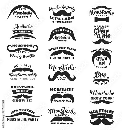 Movember mustache party mens health icons Canvas Print