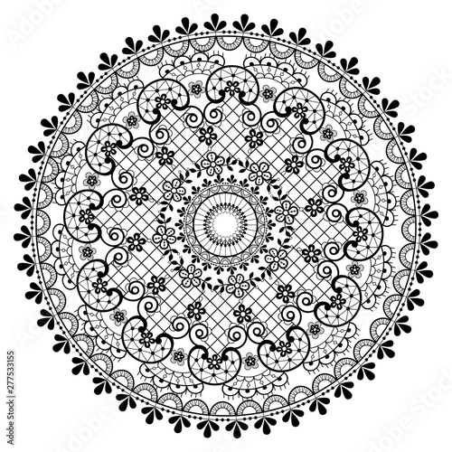 Vászonkép Mandala lace vector pattern, vintage round design with flowers and swirls in bla