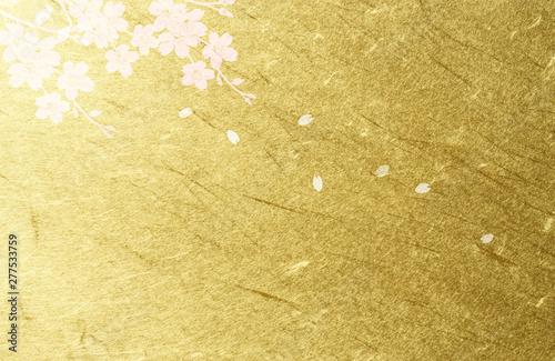 サクラ、桜、背景、3月、4月、お祝い、さくら、花、花びら、舞う、舞い上がる、和風、金色、金箔、和紙、雲、雲龍、ピンク、渋い、アート、落ち着いた、和風、上品、イラ Canvas Print
