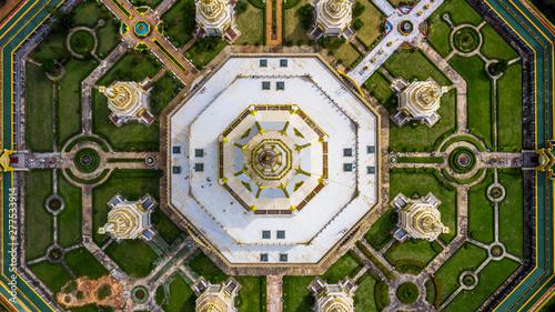 Aerial view Phra Maha Chedi Chai Mongkol or Phanamtip temple, Roi Et, Thailand Wallpaper Mural