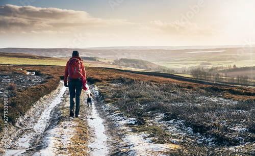 Obraz na plátně A hiker walking in the early morning sun and frost covered ground of Blanchland Common in the North of England