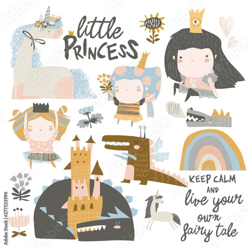 Set of cute little princesses, dragons and magic unicorns on white background