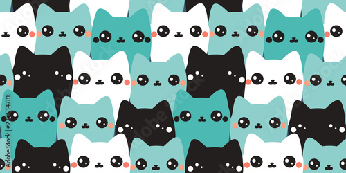 plakat Vector seamless pattern. Colorful hand drawn cats. Abstract art background. Animals collection. Cute kittens.