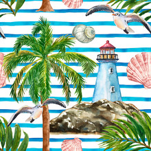 Watercolor Nautical Style Seamless Pattern With Blue Stripes, Hand Painted Lighthouse, Seashore, Palm Tree, Seagull, Shells, Tropical Leaves. Striped Summer Marine Print, White Background.