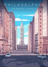 Philadelphia Skyline Poster. United States Pennsylvania, Sunny Day In Philadelphia Vector Illustration.