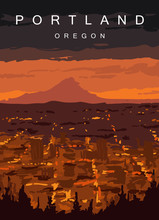 Portland Modern Vector Poster. Portland, Oregon Landscape Illustration. Top 30 Most Populated Cities Of The USA.