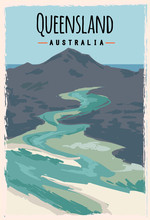 Queensland Retro Poster. Queensland Travel Illustration. States Of Australia Greeting Card. Whitehaven Beach, Whitsunday Island.
