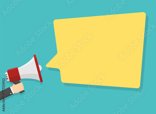 red megaphone in hand with place for text in yellow dialog speech bubble vector illustration Canvas Print