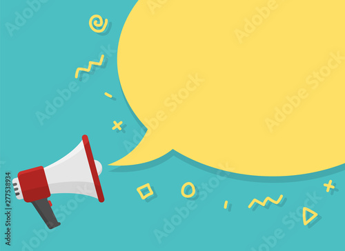 Photo  red megaphone with place for text in yellow dialog speech bubble vector illustration